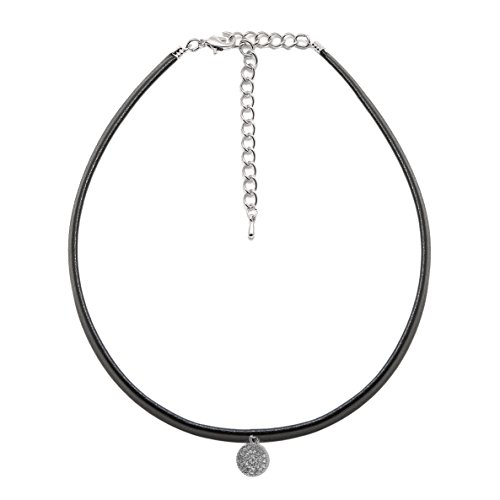 ChelseachicNYC Black Faux Leather with Crystal Accent Choker Necklace Silver
