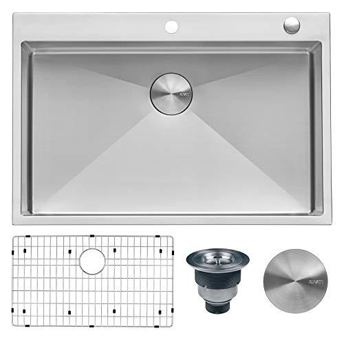 Ruvati 33 x 22 inch Drop-in Tight Radius 16 Gauge Stainless Steel Topmount Kitchen Sink Single Bowl - RVH8005