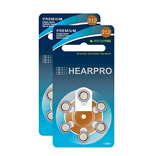 HEARPRO Size 312 Long-Lasting Hearing Aid Batteries 120 Pack - Mercury-Free - Zinc Air Technology - Made in USA - Plus 2 Keychain Battery Case
