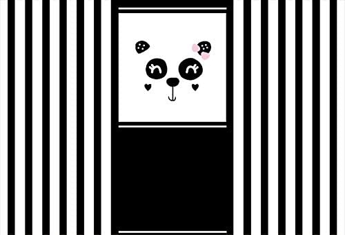 Balck and White Stripes Backdrop 7x5ft Polyester Photography Background Ctue Panda Face Photo Backdrops Newborn Baby Kids Birthday Party Backdrops Children Photography Backdrop Studio Props