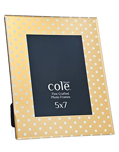Philip Whitney 5x7 Gold With White Polka Dots Photo Picture Frame Standing Horizontal or - Frame Dot Polka