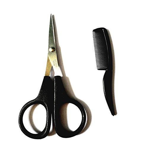 Beard & Mustache Scissors for Men with Mini Comb Eyebrow Trimmer (1 pack)