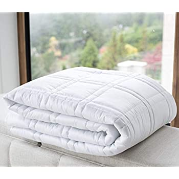 Image of Supine Premium Adult Weighted Blanket, 52?x75? 15lb (Various Sizes), 300 TC 100% Cotton Outer, Glass Beads, Oeko-Tex Certified, Stylish White Design, Noise Free Supine Living B07V9YX9S9 Weighted Blankets