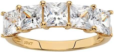 Solid 10k Yellow Gold Princess Cut Yellow Cubic Zirconia Ring