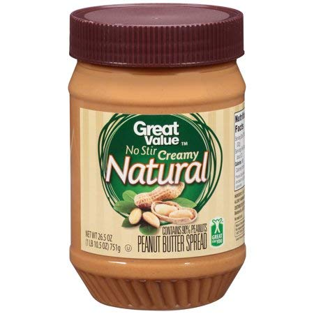Natural No Stir Creamy Peanut Butter, 26.5 Ounces Is a Smooth Spread That Brings Out The Simple Pleasure of GREAT VALUE Peanut Butter