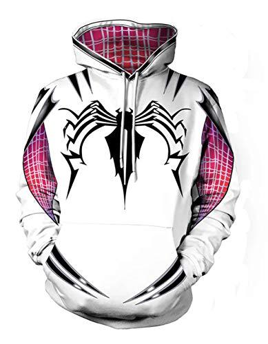(Fashco Unisex Adult 3D Clothing Black White Venom Spider Cosplay Hooded Sweatshirt (Black Spider, X-Large))