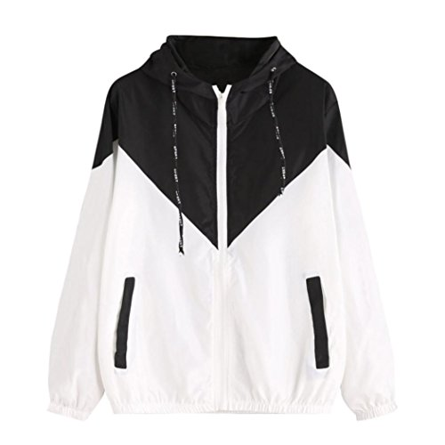 Leedford Women's Color Block Drawstring Thin Hooded Zip Up Sports Jacket Windproof...