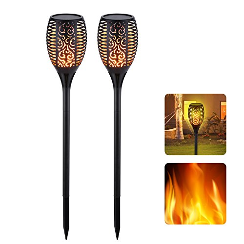 Solar Lights, Garden Torch Light, Solar Powered LED Flame Effect Light, Outdoor Landscape Decoration Path Security Lighting, Dusk to Dawn Auto On/Off, IP65 Waterproof-2 Pack