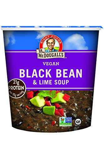(Dr. McDougall's Right Foods Vegan Black Bean & Lime Soup, 3.4 Ounce Cups (Pack of 6) Gluten-Free, Non-GMO, No Added Oil, Paper Cups From Certified Sustainably-Managed Forests)