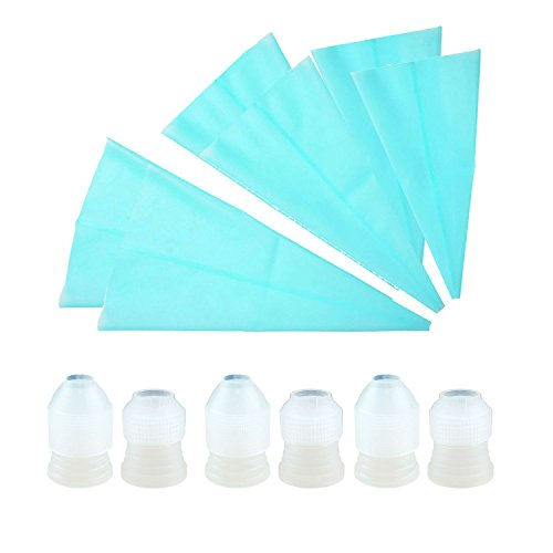 Funpa 6PCS Pastry Bag Baking Decorating Bag Reusable Assorted Sizes Silicone Icing Piping Bag with 12 Cake Coupler by Funpa