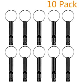Woodcovo 10 Pack Aluminum Whistle EDC Sport Emergency Survival Whistles with Key Chain