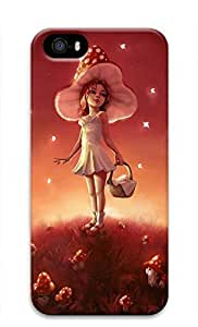 3D Hard Plastic Case for iPhone 5 5S 5G,Girl Picking Up Mushrooms Case Back Cover for iPhone 5 5S