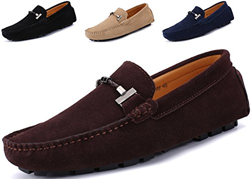 Go Tour New Mens Casual Loafers Moccasins Slip On Driving Shoes Brown - Loafers Brown Suede