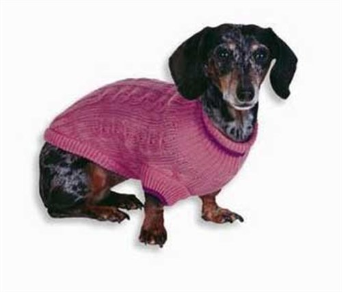Fashion Pet Classic Cable Dog Sweater, Pink, X-Small