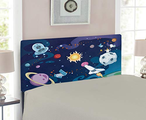 - Lunarable Outer Space Headboard for Twin Size Bed, Galaxy Scenery Space Mission with Sun Milky Way Nebula Pluto Mars Rocks Image, Upholstered Decorative Metal Headboard with Memory Foam, Multicolor