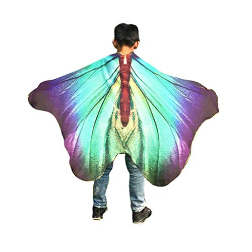 FEITONG Halloween Party Child Kids Boys Girls Bohemian Butterfly Wings Print Shawl Pashmina Costume Accessory, 147x100cm(147x100cm,Purple)