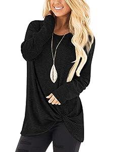 Women's Long Sleeve Tunic Tops Shirt Blouse Round Neck Knot Side Twist Knit Soft Sweatshirt Plain Stylish