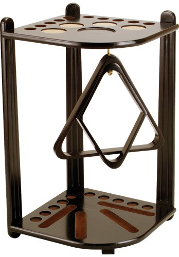 10 Cue Floor Stand - 10 Pool Cue Stained Wood Floor Rack, Midnight