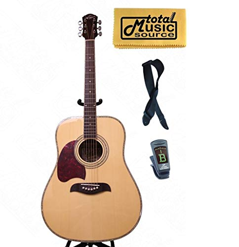 Oscar Schmidt LEFT HAND Dreadnought Spruce Top Acoustic Guitar FREE STRAP TUNER