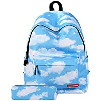 Violet Mist Canvas Waterproof Laptop Backpack (Blue Cloud)