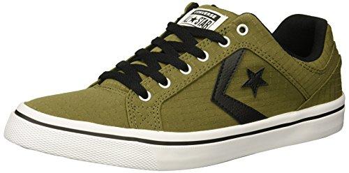 Converse Men's El Distrito Ripstop Canvas Low Top Sneaker, Medium Olive/Black/White, 8 M - Olive El