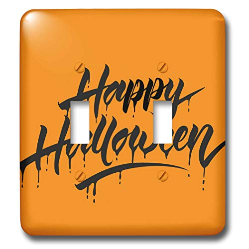 3dRose Sven Herkenrath Celebration - Scary Happy Halloween Quotes with Orange Background - Light Switch Covers - double toggle switch -