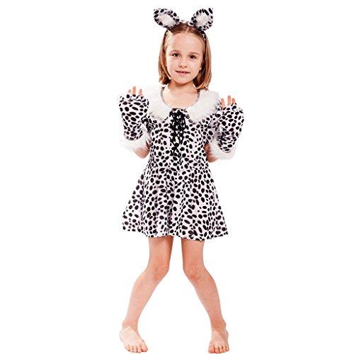 EraSpooky Girl's Halloween Cute White Leopard Costume Dress(As Picture, (Girl Guide Costume Fancy Dress)