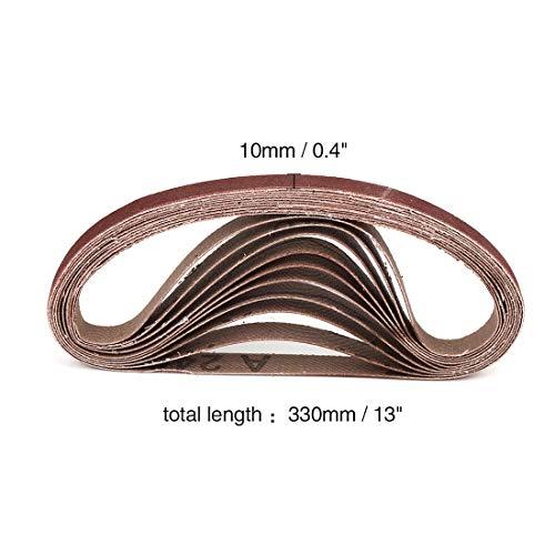 uxcell サンディングベルト 1.02×33.02cm 240グリット 酸化アルミニウム サンディングベルト サンドペーパー ポータブルベルトサンダー用 10個入り