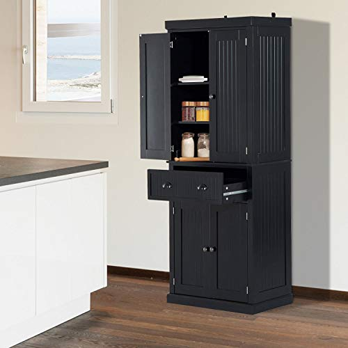 "Festnight Tall Kitchen Pantry Storage Cabinet, Traditional Standing Kitchen Pantry Cupboard Cabinet Black 72"" by Festnight (Image #9)"