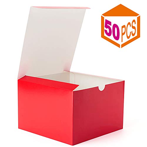 MESHA Kraft Boxes,Brown Paper Gift Boxes with Lids for Gifts, Crafting, Cupcake Boxes,Boxes for Wrapping Gifts,Bridesmaid Proposal Boxes 50PACK (Red, 6x6x4 Inch)