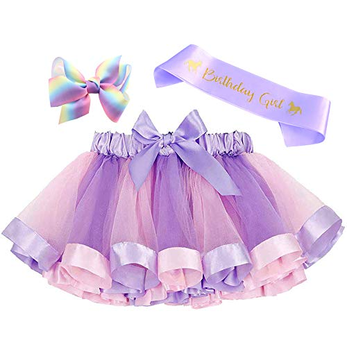 Toycost Layered Rainbow Tutu Skirt Costumes Set with Hair Bows Clips and Satin Sash for Girls Birthday Party Dress up (Purple Rainbow, M,2t~4t)