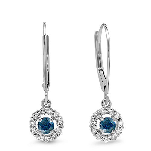 Dazzlingrock Collection 0.55 Carat (ctw) 14K Round Blue & White Diamond Cluster Halo Drop Earrings 1/2 CT, White Gold ()