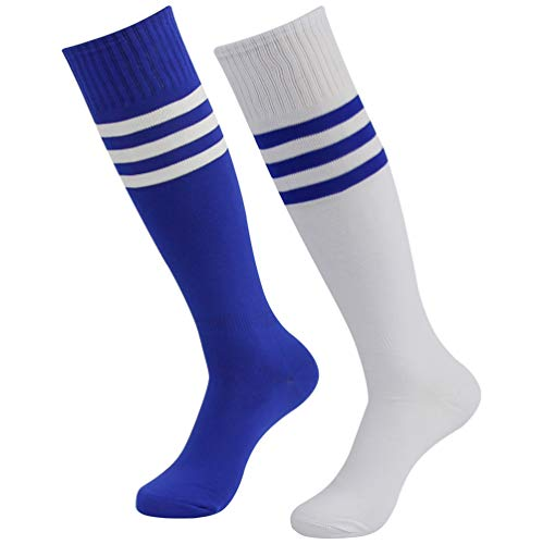 Lightweight Stretch Rugby - Womens Soccer Socks, Funcat Boys Girls Knee High Long Tube Moisture Wicking Thin Striped Stretch Rugby Football Sports Cheerleading Uniform Socks 2 Pairs Blue/White