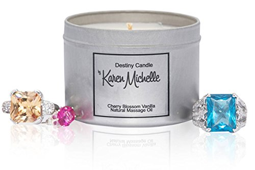 Scented Massage Oil Candle - Cherry Blossom Vanilla Aromatherapy | Destiny Candle by Karen Michelle | Beautiful Piece of Jewelry Inside | A Perfect Way to Rekindle the Romance