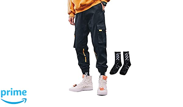 Details about Hip Hop Men Cargo Jogger Pants Drawstring Elastic Waist Side Big Pockets