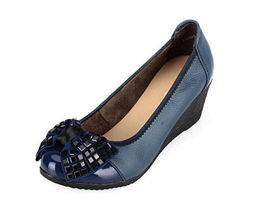 CHFSO Womens Stylish Wedges Rhinestone Bow Round Toe Slip On Low Top Mid Heel Pumps Shoes Sapphire 3ieAD4zS