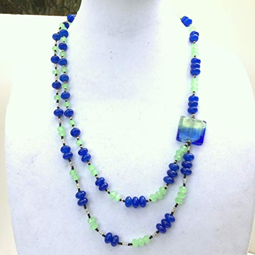 (Blue green double strand necklace with genuine Murano glass focal, 26