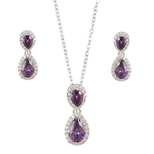 EVER FAITH Silver-Tone Prong CZ Wedding 2 Tear Drop Necklace Earrings Set (Tone Prong)