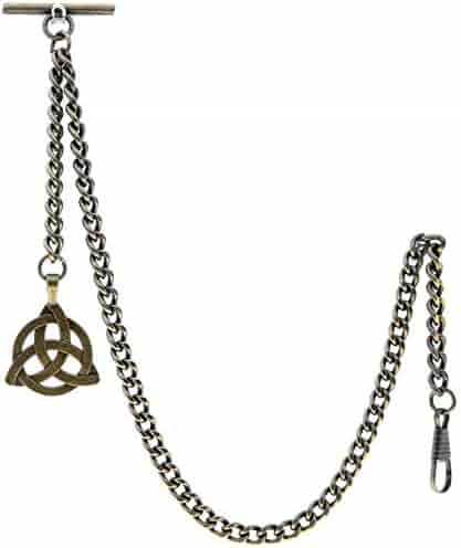 Albert Chain Pocket Watch Curb Link Chain Antique Brass Plating Fob T Bar AC08