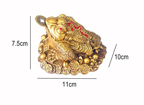 QOCOO Home & Office Décor Sculpture Feng Shui Ornament Mascot Brass Money Frog Statue with Removable Lucky Ancient Coins, Cute three Legged Toad Figurine for Attract Wealth Money Luck and Business
