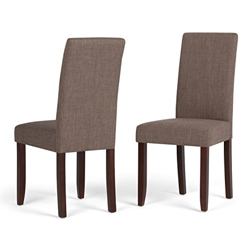 Simpli Home WS5113-4-LML Acadian Contemporary Parson Dining Chair (Set of 2) in Light Mocha Linen Look Fabric (2 Piece Chair Parson)