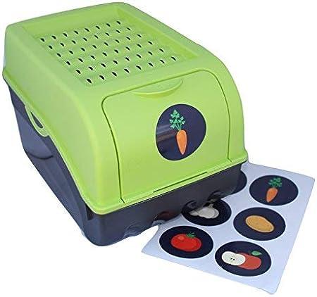 Home & Style Vorratsdose für Kartoffeln, Gemüse, Obst, Zwiebeln, Aufbewahrungsbox, Kunststoff, Volumen von 7,7 Liter + 6 Aufkleber mit Gemüsesorten