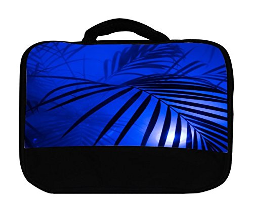 Jungle Blue Palm Tree Leaves Canvas Lunch Bag by Moonlight - Lakes Outlets Beach Palm