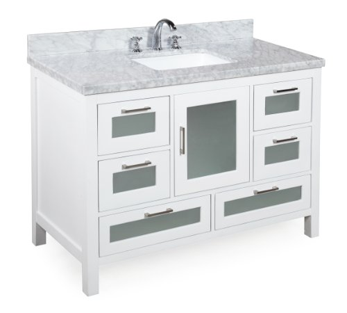 41GIewA6DGL - Kitchen Bath Collection KBC-G48WTCARR Manhattan Bathroom Vanity with Marble Countertop, Cabinet with Soft Close Function and Undermount Ceramic Sink, Carrara/White, 48""