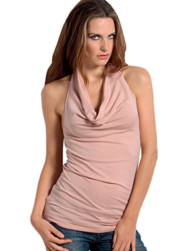Top Rosa Camisetas Sensi' Costuras Espalda Mujer Sin Descubierta Mangas Avv4zwSq