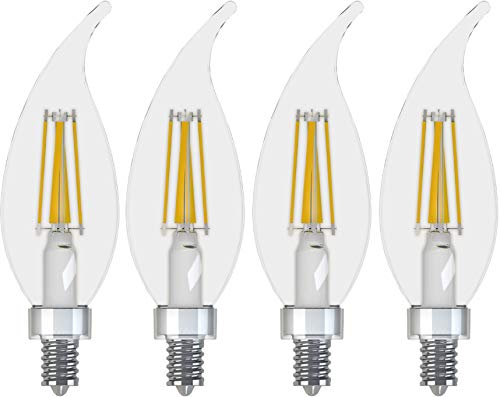 GE Lighting Decorative Outdoor Soft White LED 3.5-watt (40-watt Replacement), 300-Lumen Bent Tip Light Bulb with Candelabra Base, Clear Finish, ()