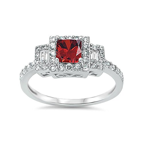 Blue Apple Co. Halo 3-Stone Wedding Engagement Ring Princess Simulated Red Garnet Baguette Round CZ 925 Sterling Silver Filigree ()