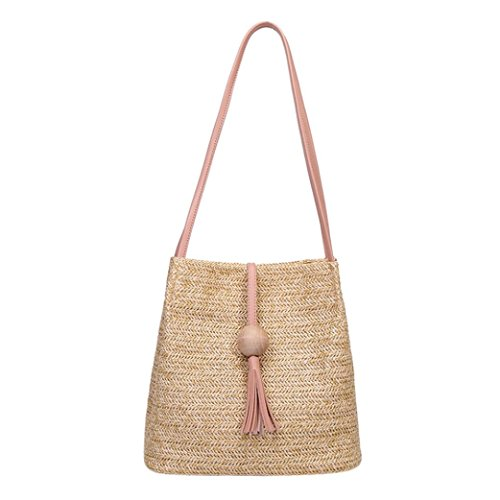 High Shoulder Bucket Tassels Weave Pink Pink Beads Anyada Bag Capacity Fashion Wooden Women 8nIqzf0E