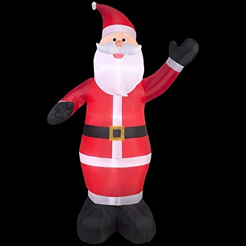 (Holiday 9 ft Inflatable Waiving Santa Claus Inflatable Outdoor Yard)