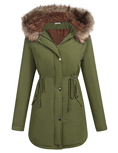 Hooded Mid Length Coat (Elesol Women's Winter Mid Length Hooded Cotton Padded Fleeced Coats Jackets Army Green/S)